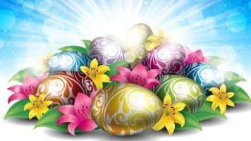hd-wallpaper-lilies-eggs-for-easter