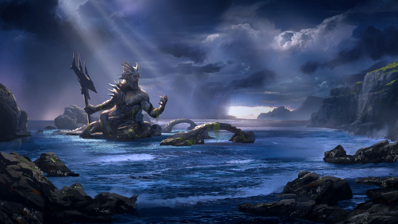 hd wallpaper poseidon  god of war