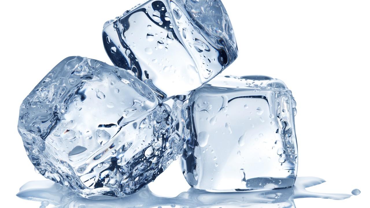 three ice cubes