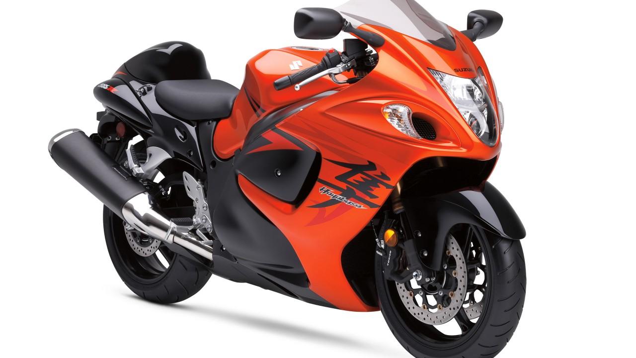 suzuki hayabusa orange bike wide