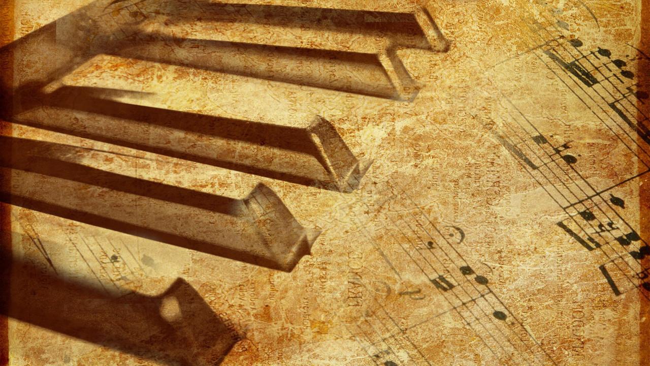 piano keyboard and musical notes