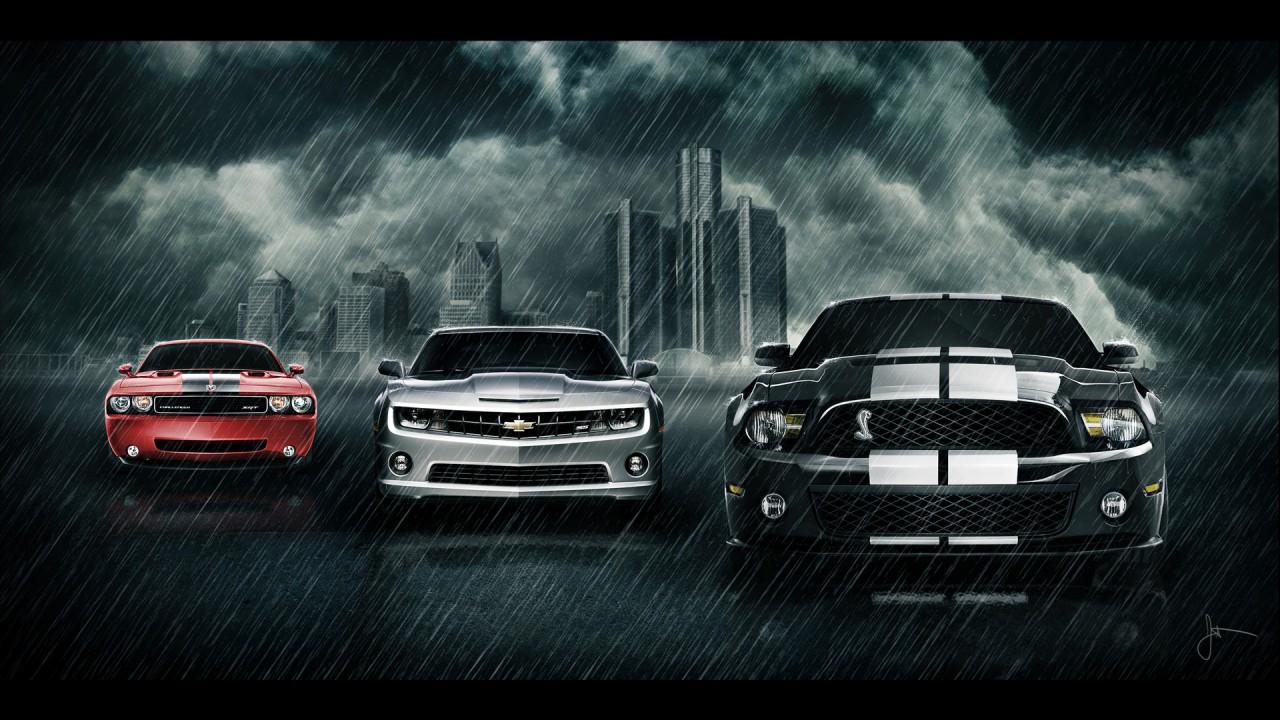 Supercars in the rain