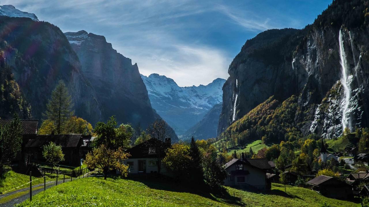 Beautiful waterfall mountain landscape