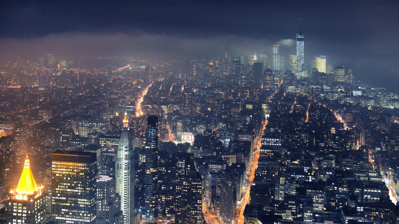 Evening City lights view