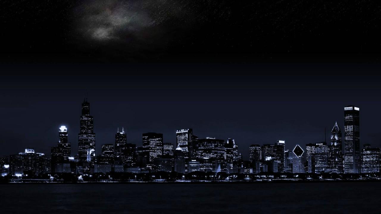 The city lights in the dark night