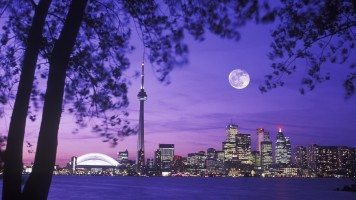 Toronto-Skyline-Night-Moon-Scenery-Canada
