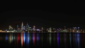 View-of-the-city-at-night-from-the-water