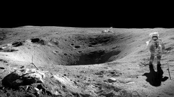 Astronaut-near-a-crater-on-the-moon