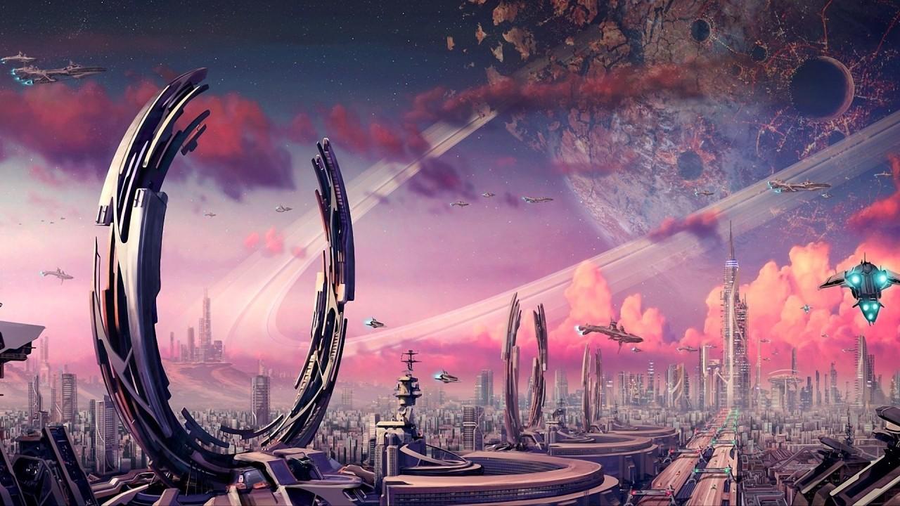 hd wallpaper starship space city purple