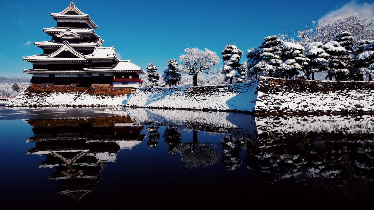 Japanese pagoda in winter