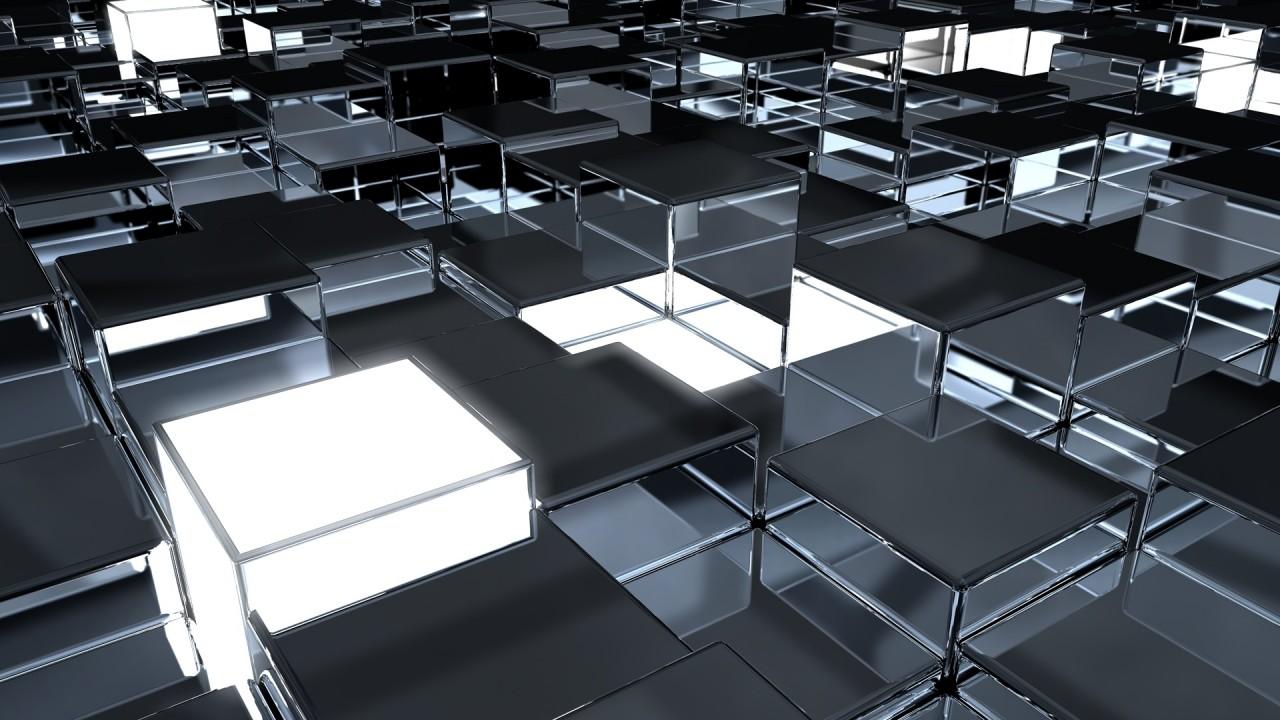 cubes surface metal reflection hd wallpaper