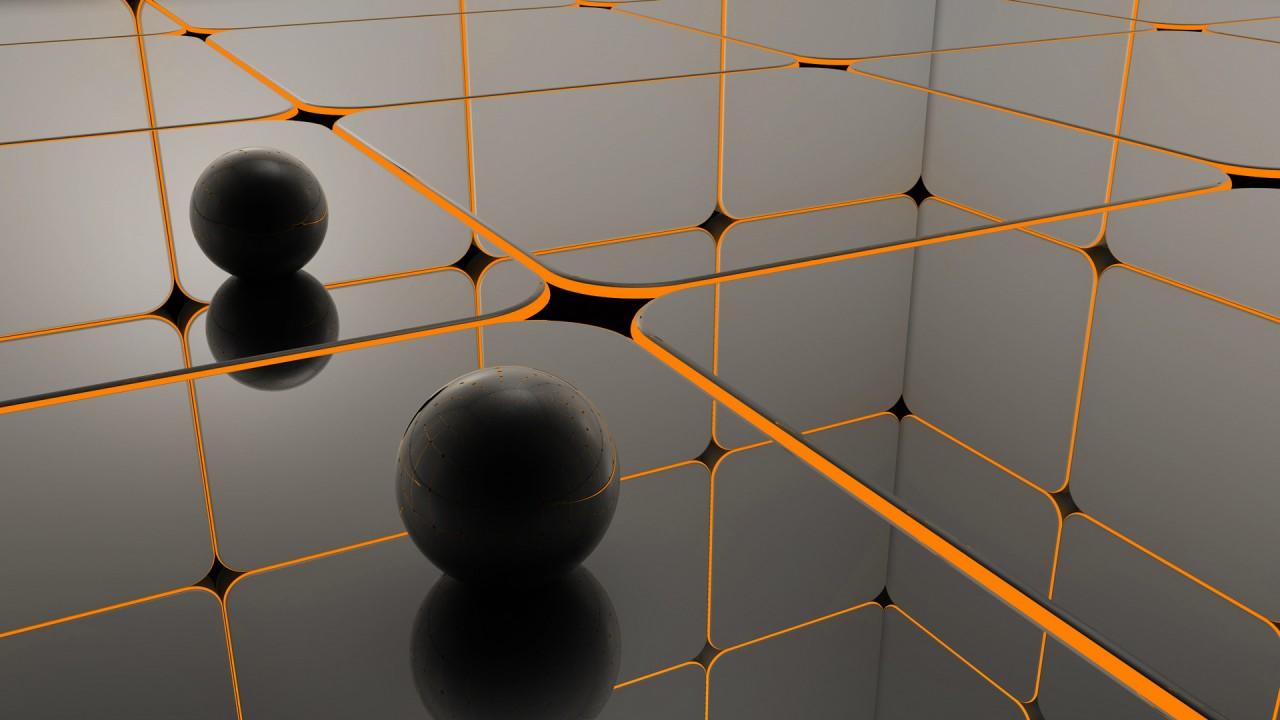 hd wallpaper 3d sphere cube grid