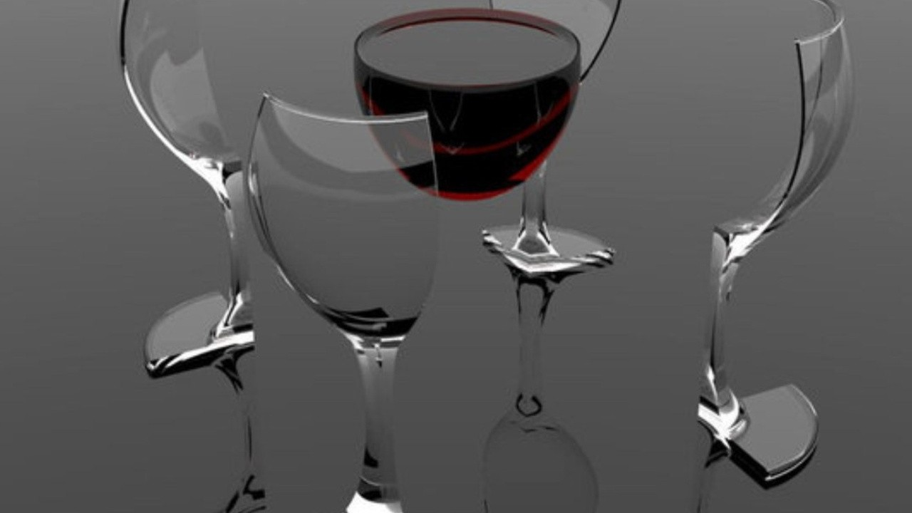red wine floating in air