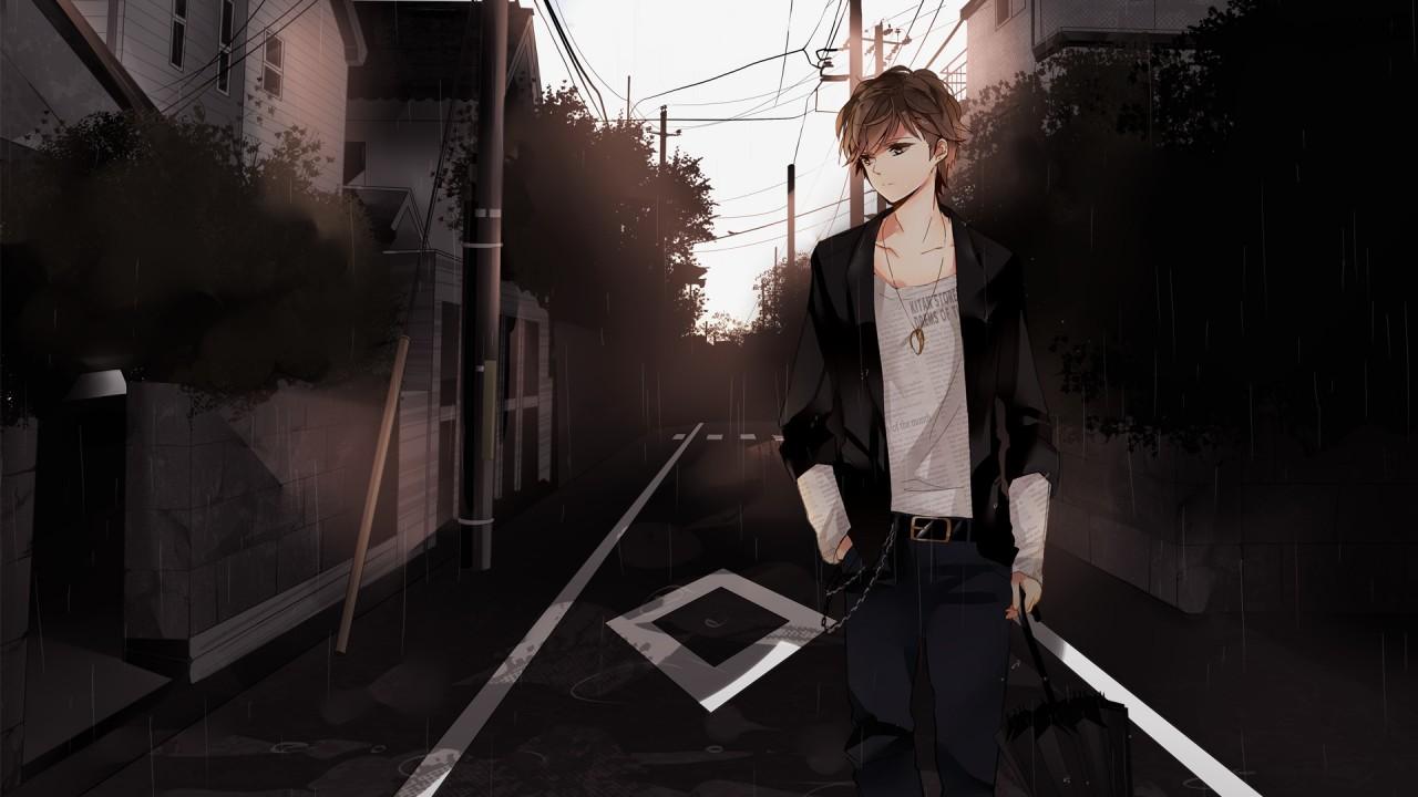 hd wallpaper man city anime street mood