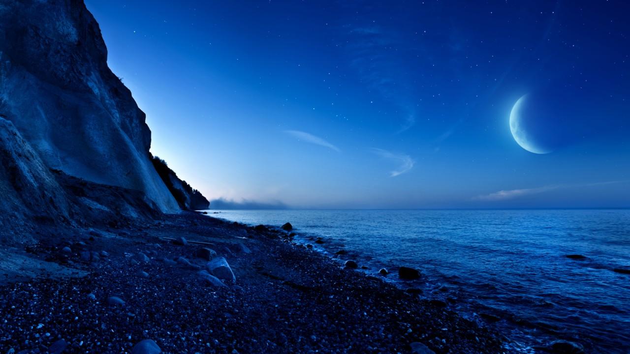 nightfall mountain sea moon wide