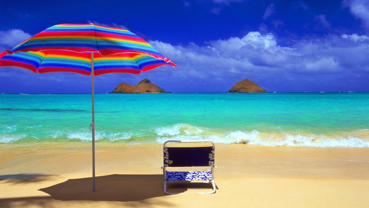 sun beach umbrella hd wallpaper