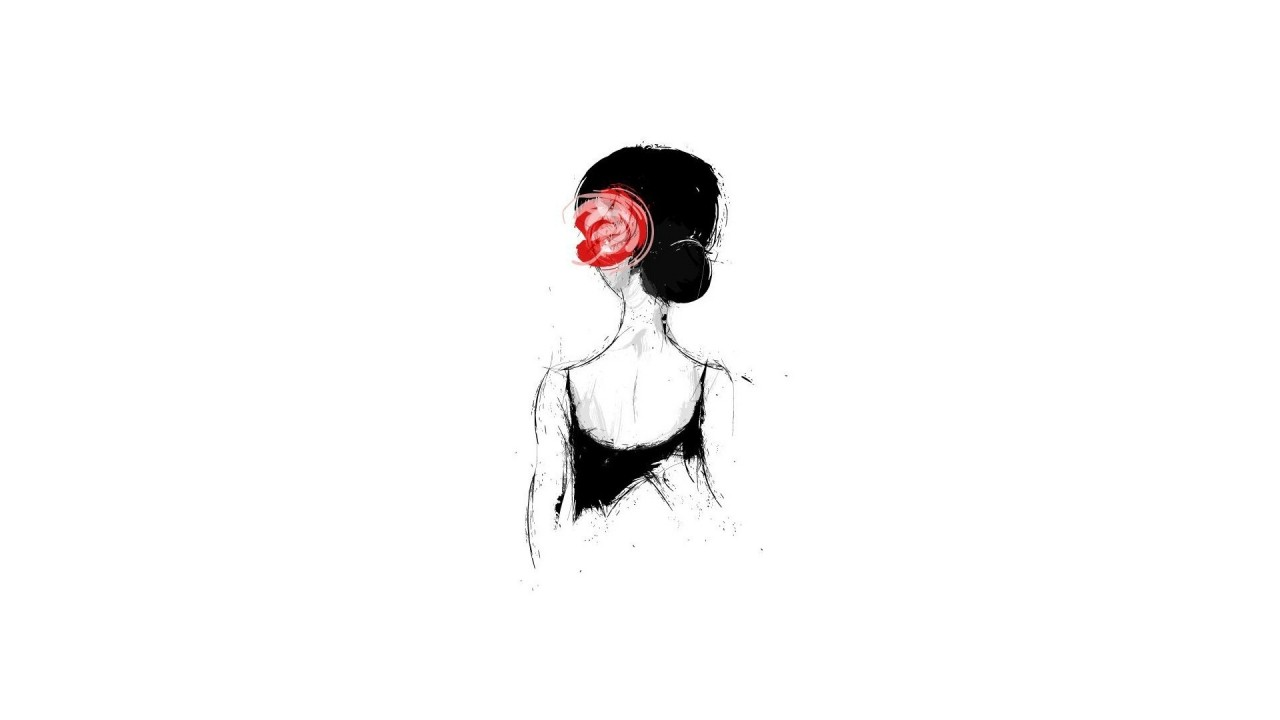 girl with a rose in hair