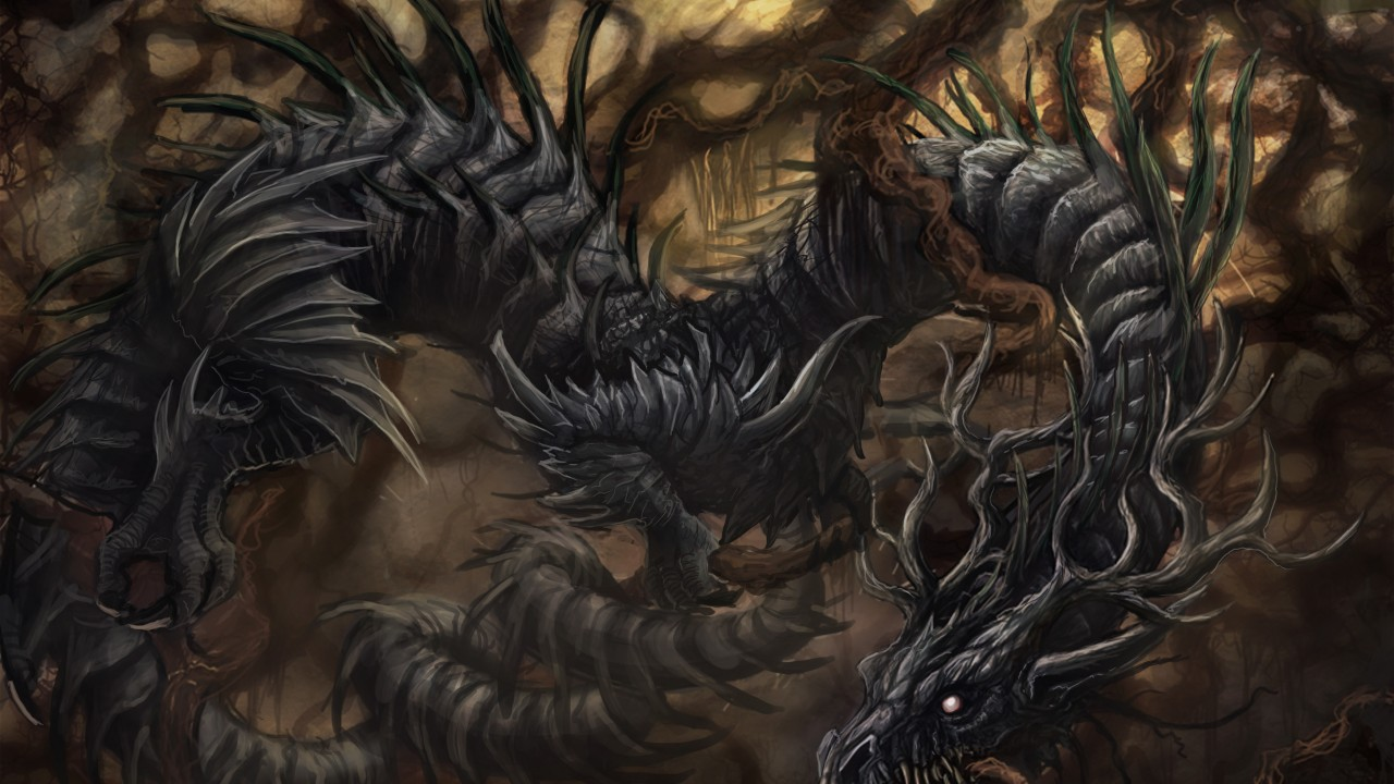 Dragon fighting to free themselves of creepers