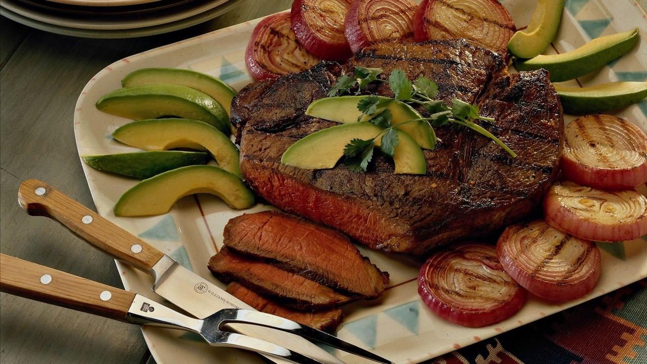 food meat onions avocado hd wallpaper