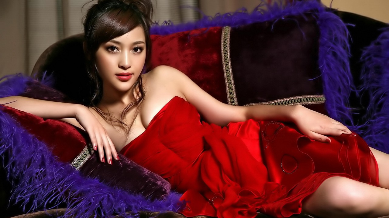 Asian in satin red dress