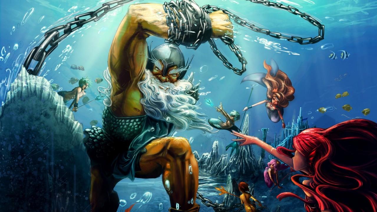 hd wallpaper poseidon mermaid