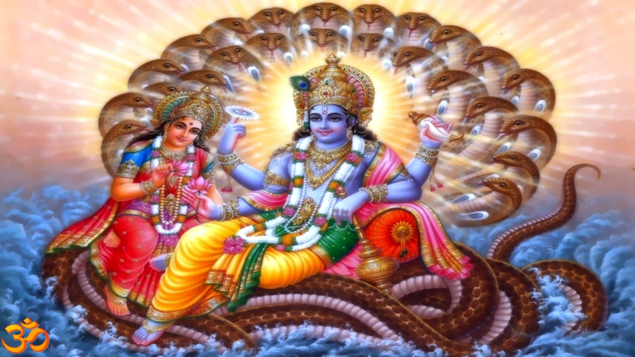 shree vishnu with mata hd wallpaper