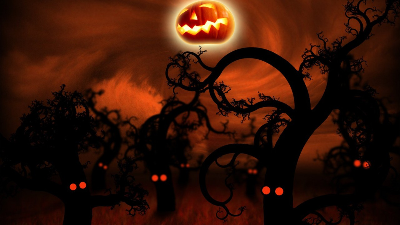 hd wallpaper midnight forest halloween