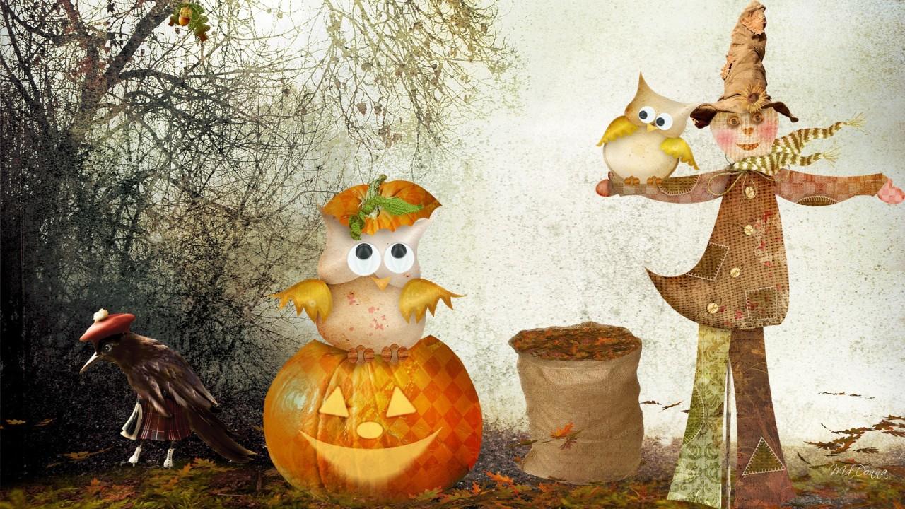 hd wallpaper scarecrow owls halloween
