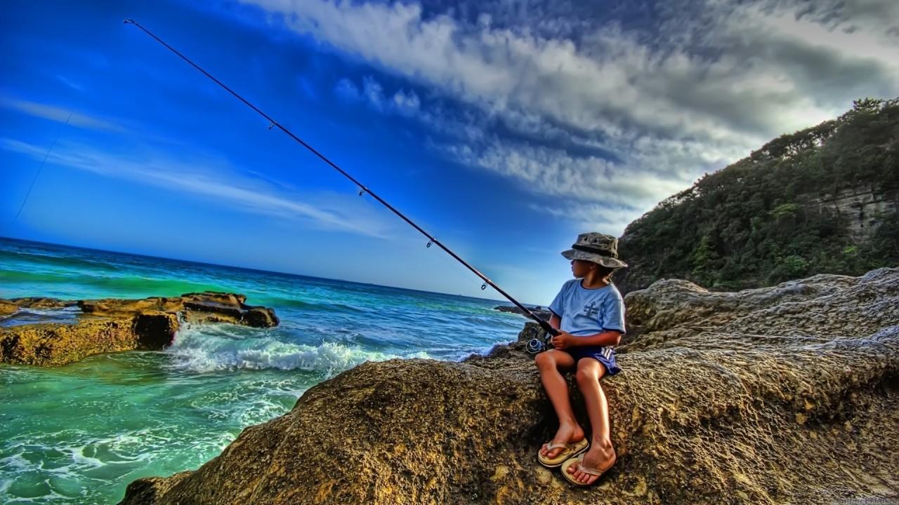 fishing boy hd wallpaper