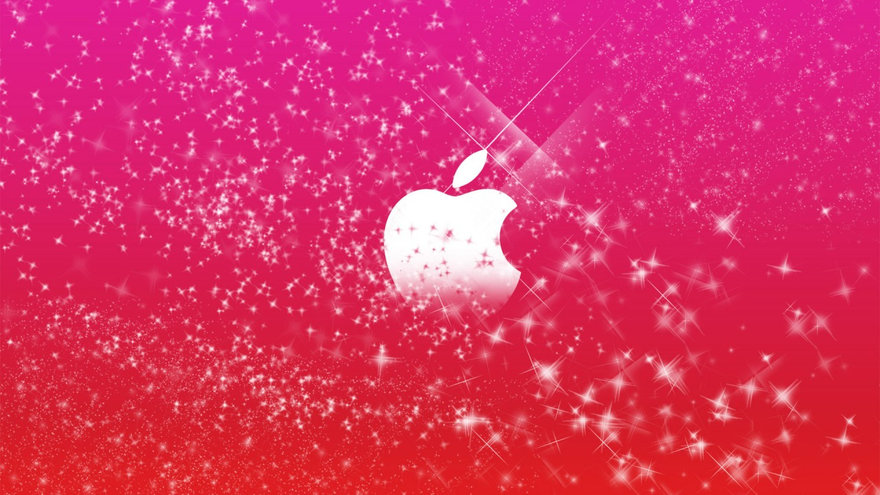 apple logo in pink glitters wide