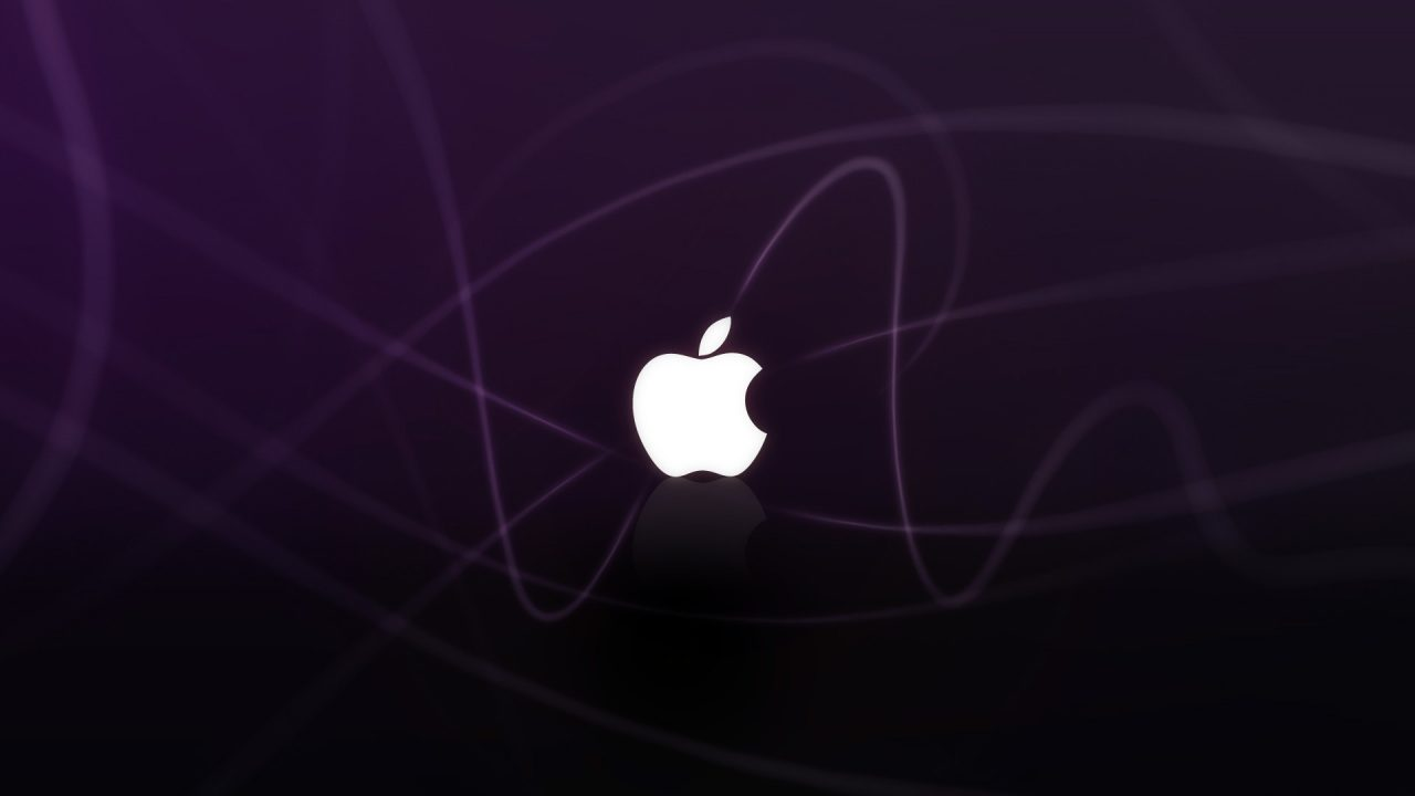 apple logo purple waves wide