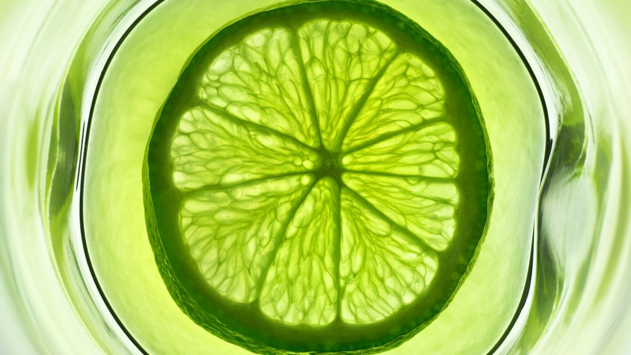 lime slice in a glass