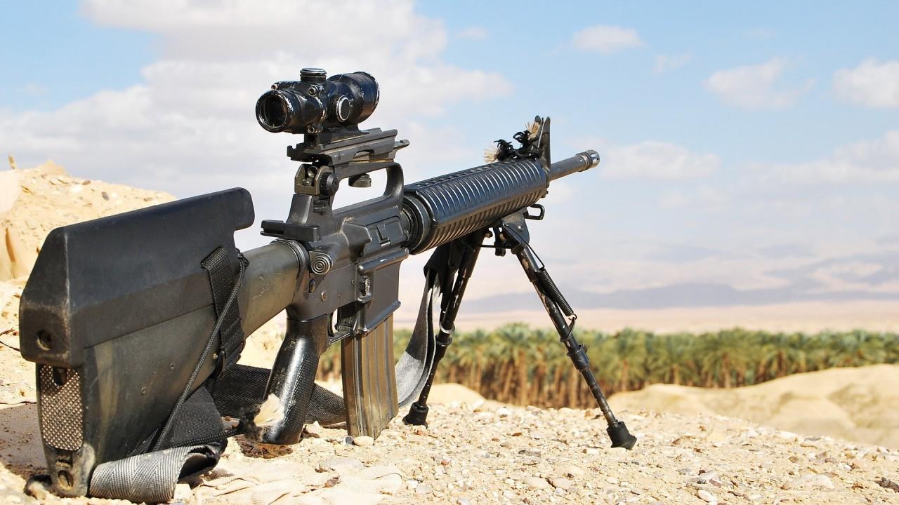 military assault rifle hd wallpaper