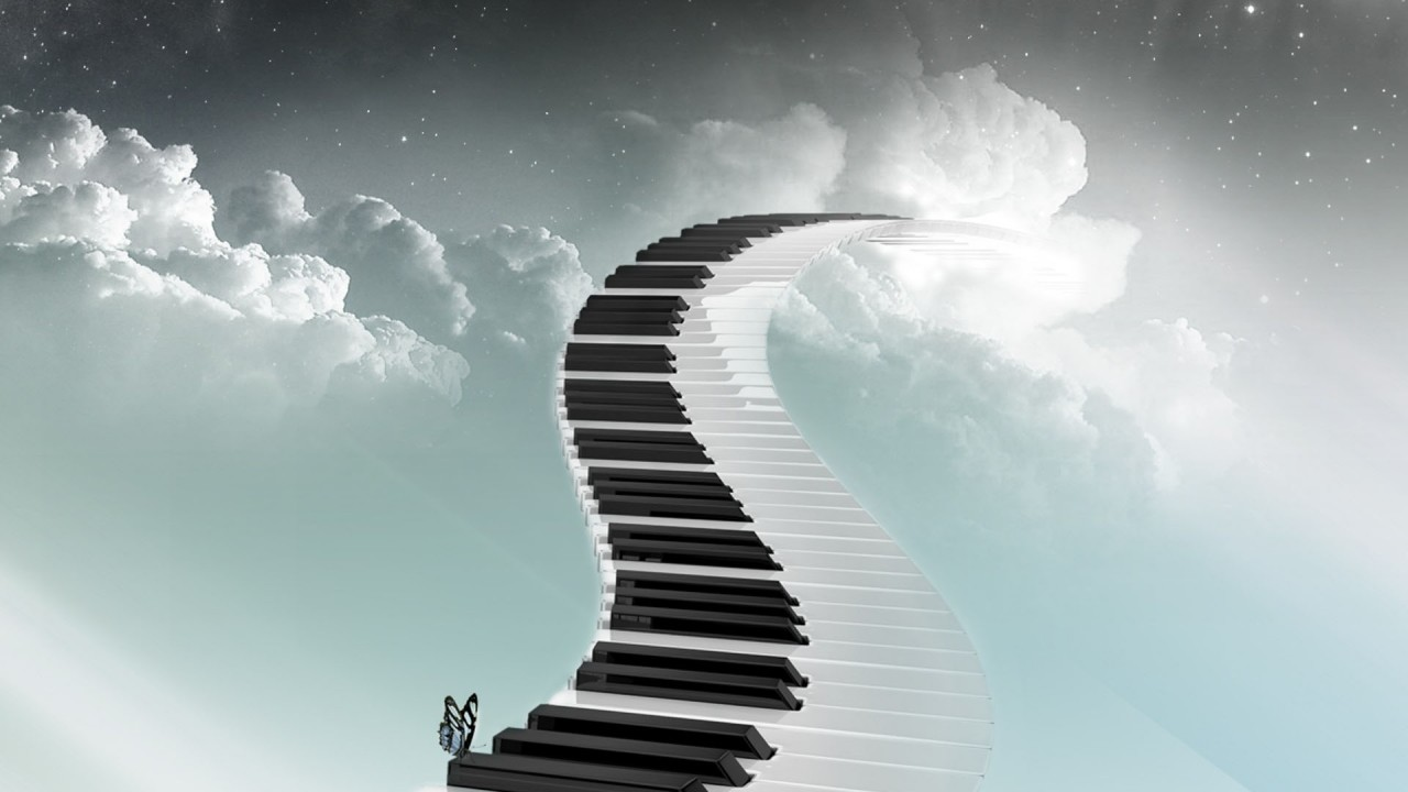 hd wallpaper sky road piano butterfly staircase music