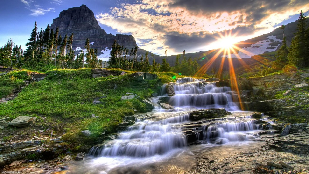 magnificent waterfall at sunset