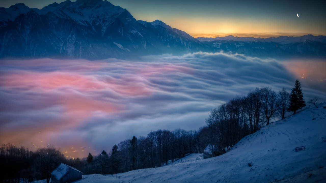 Superb winter view above the clouds