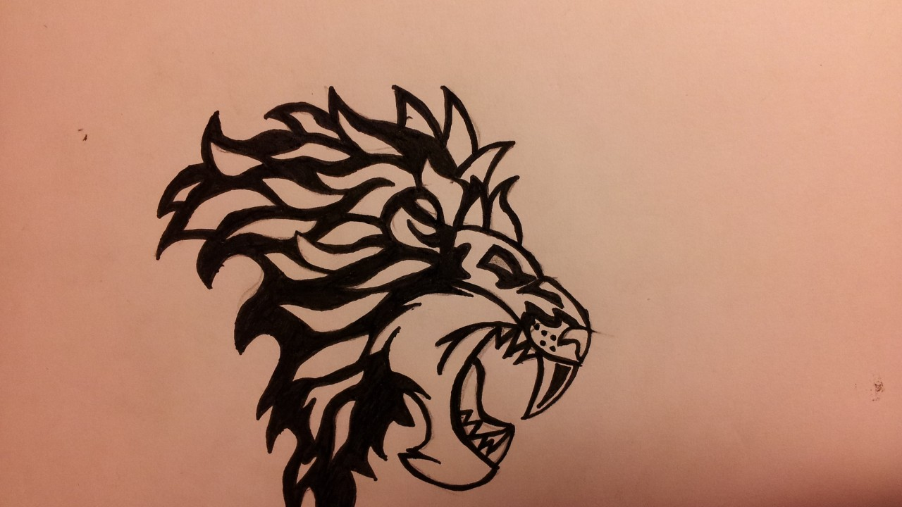 Lion logo large canines