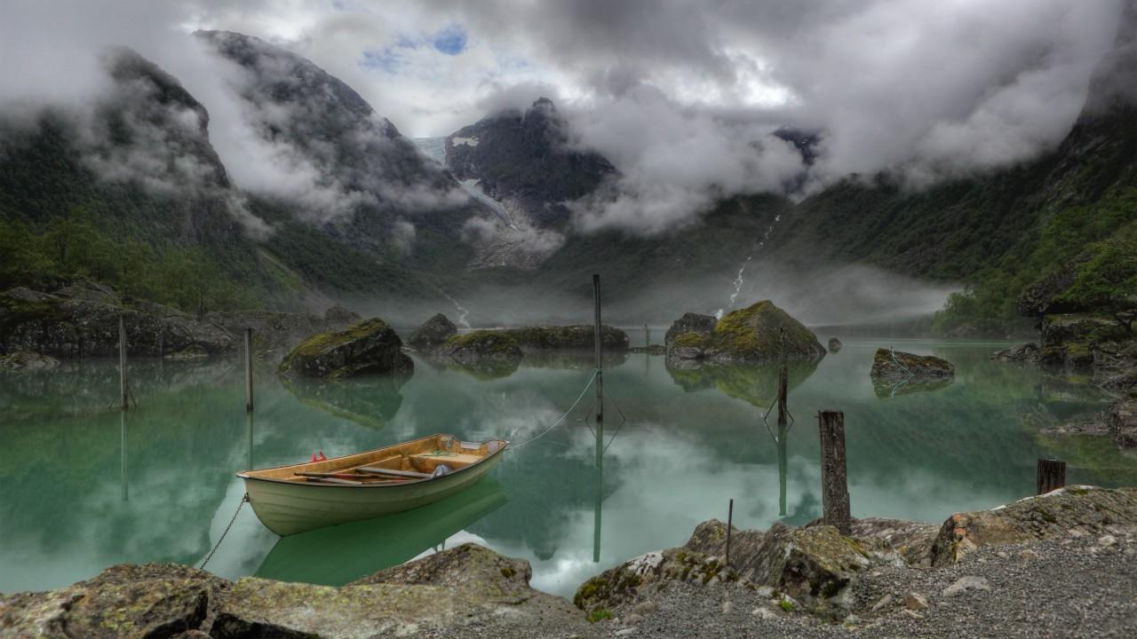 Boat on a mountain lake