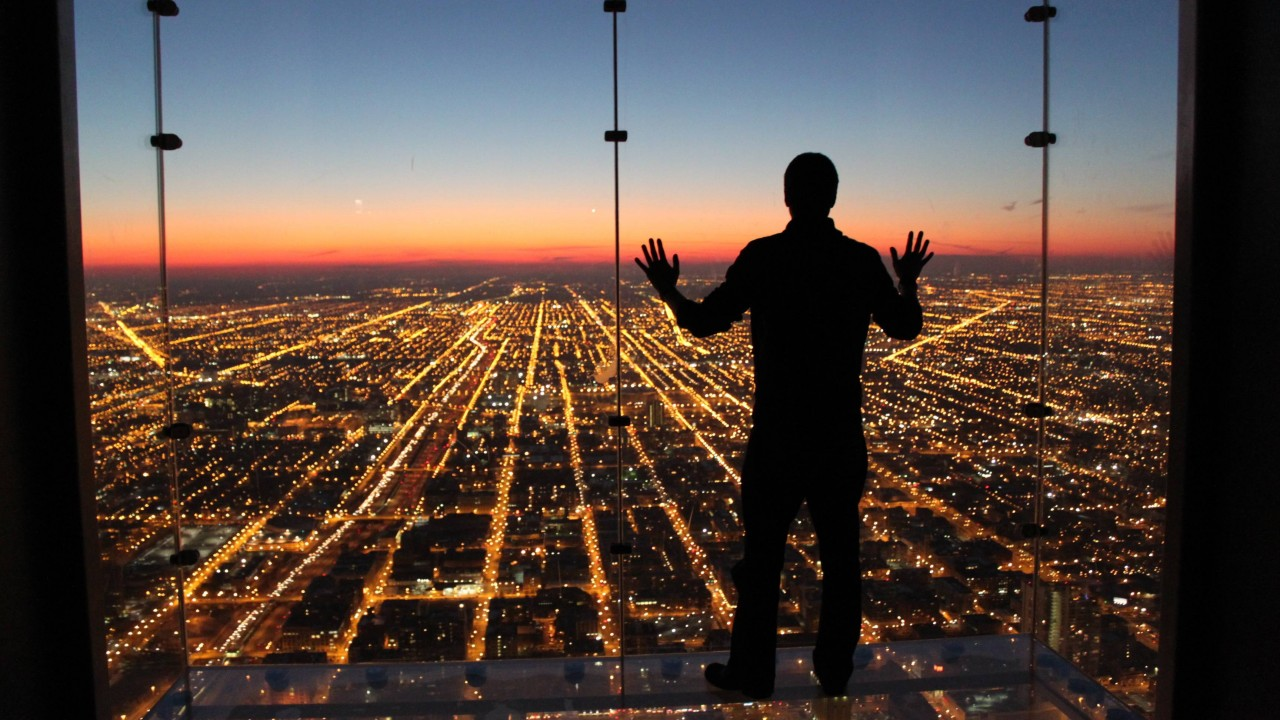Walk over city lights