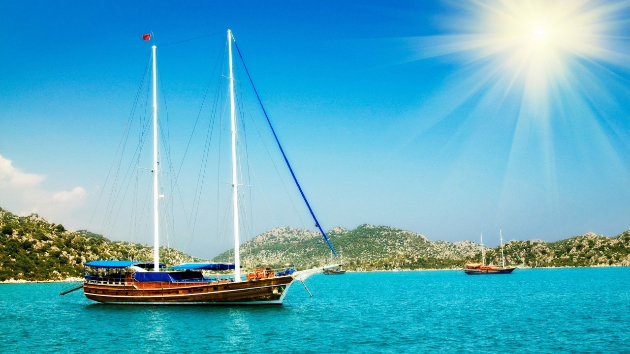 hd wallpaper ocean sun ships