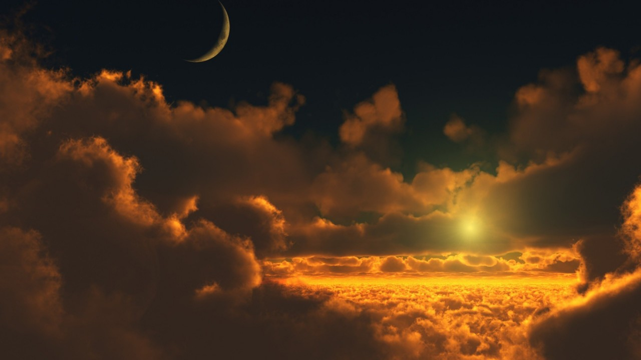 sunset with moon and clouds