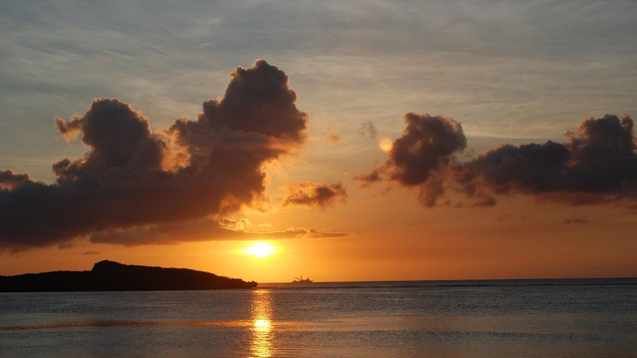 island on sunset