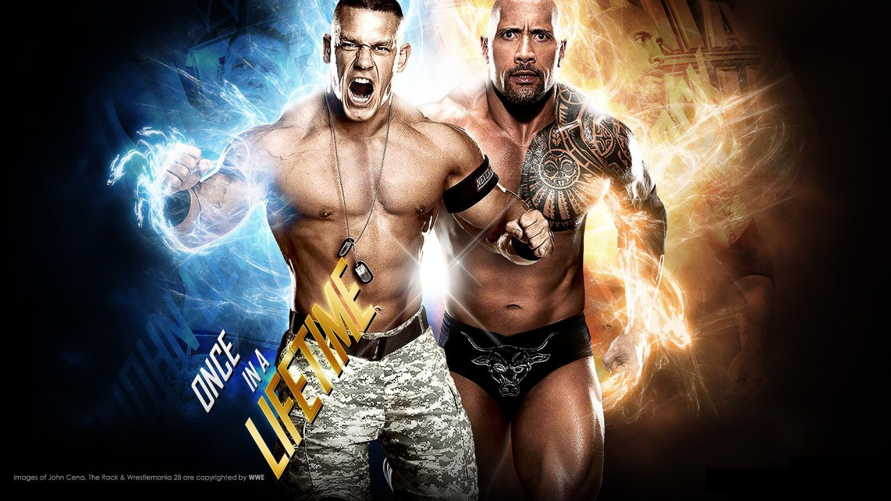 the rock vs john cena hd wallpaper
